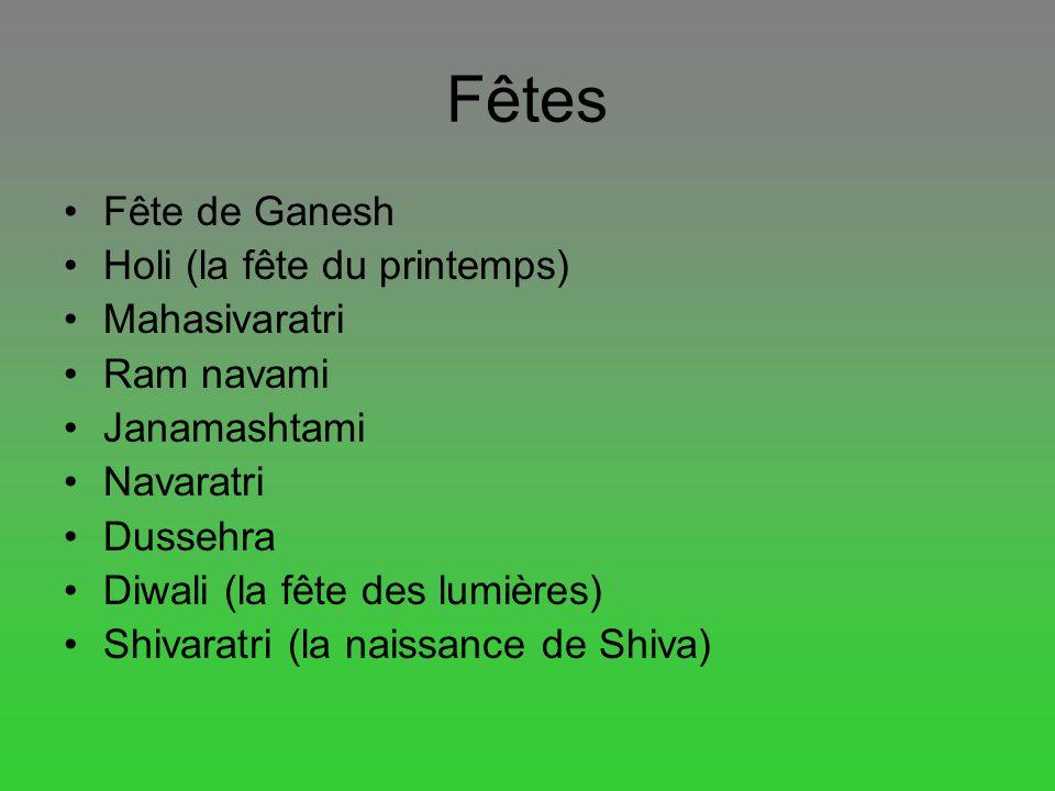 Fêtes Fête de Ganesh Holi (la fête du printemps) Mahasivaratri