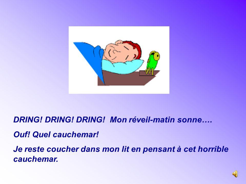 DRING! DRING! DRING! Mon réveil-matin sonne….