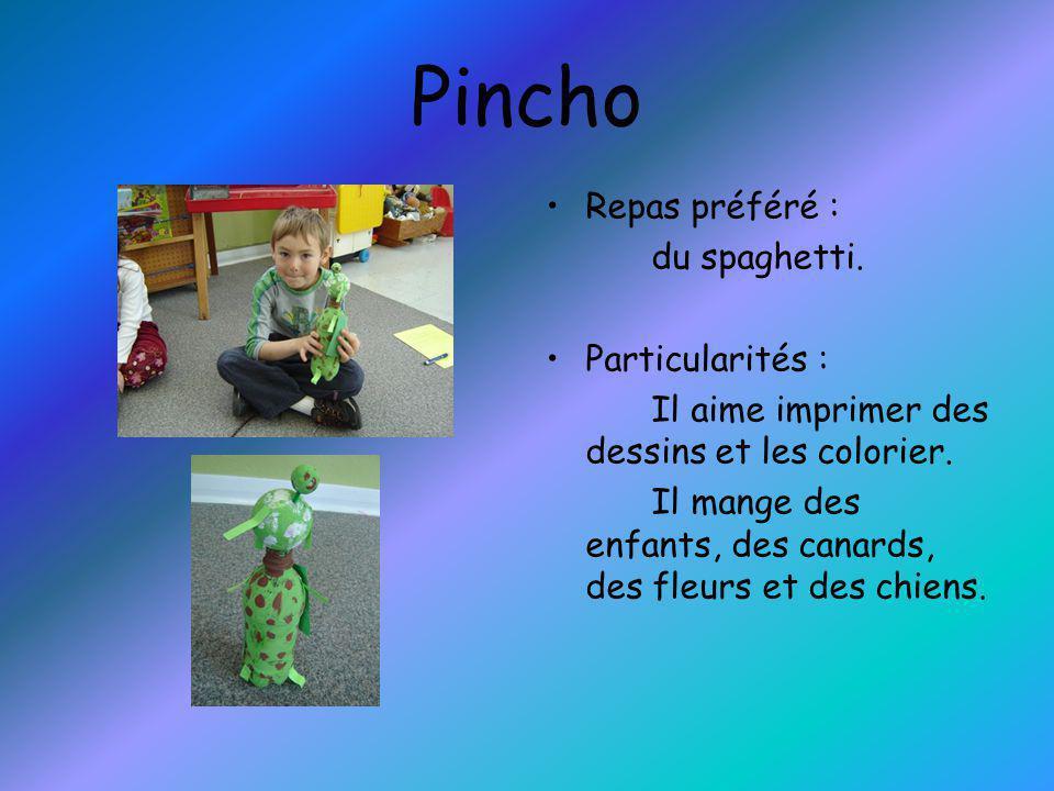 Pincho Repas préféré : du spaghetti. Particularités :