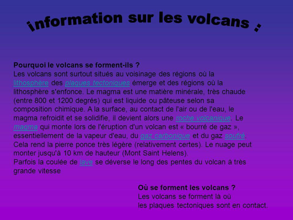 information sur les volcans :
