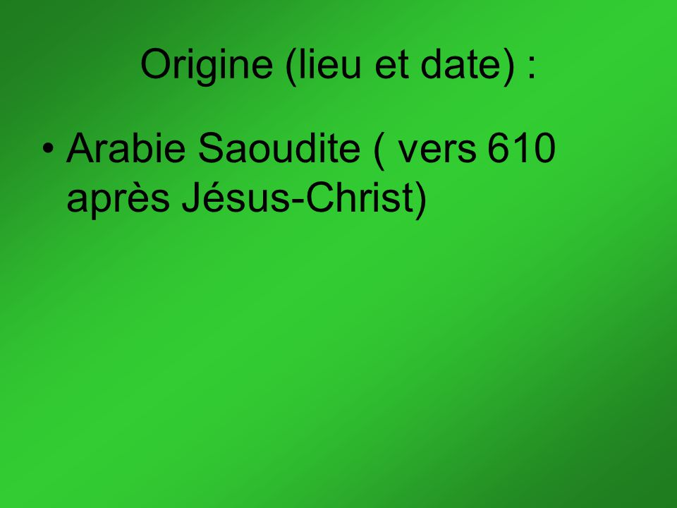 Origine (lieu et date) :