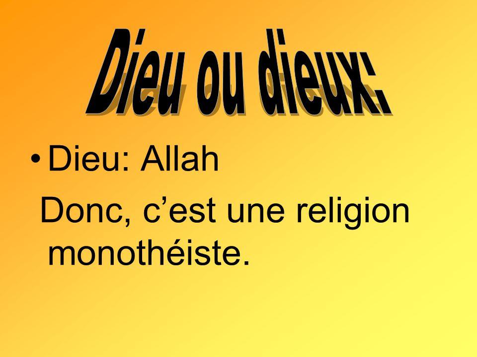 Donc, c'est une religion monothéiste.