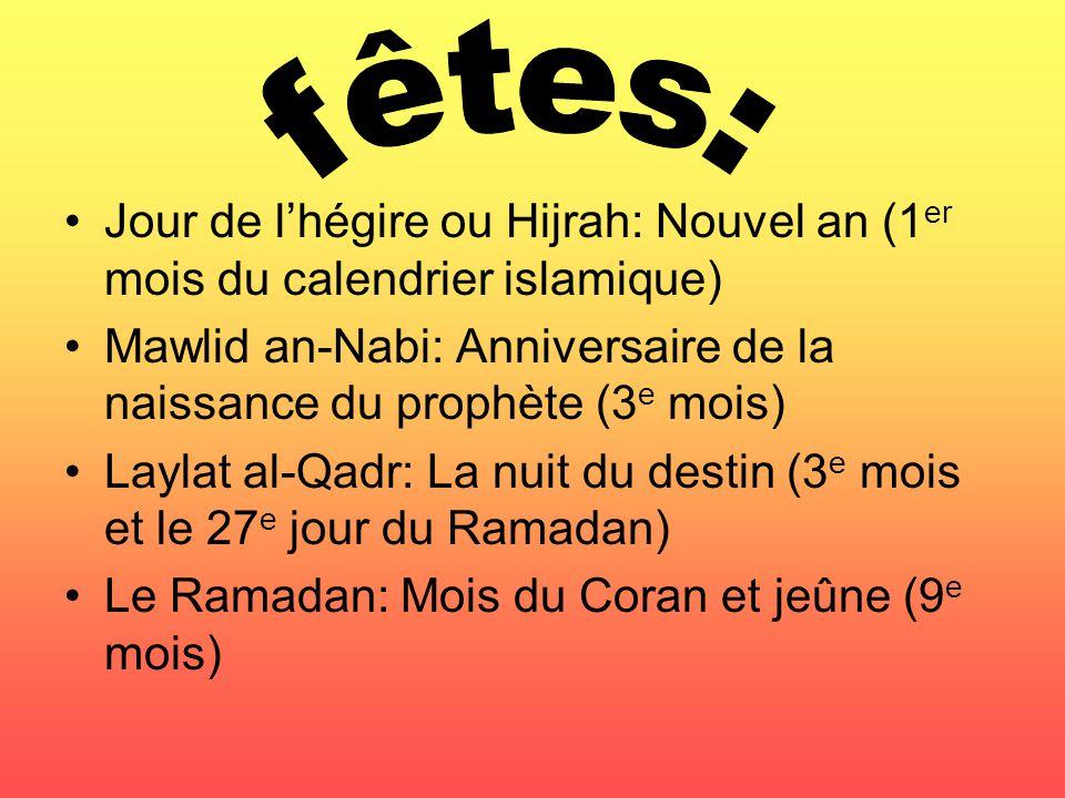 fêtes: Jour de l'hégire ou Hijrah: Nouvel an (1er mois du calendrier islamique) Mawlid an-Nabi: Anniversaire de la naissance du prophète (3e mois)
