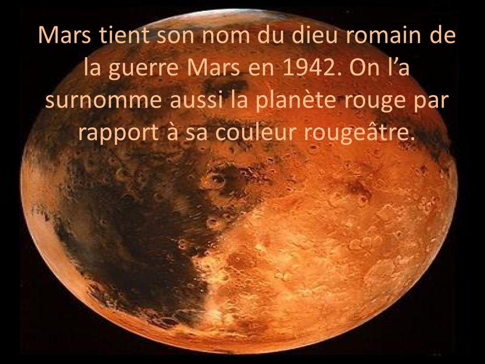 Mars tient son nom du dieu romain de la guerre Mars en 1942