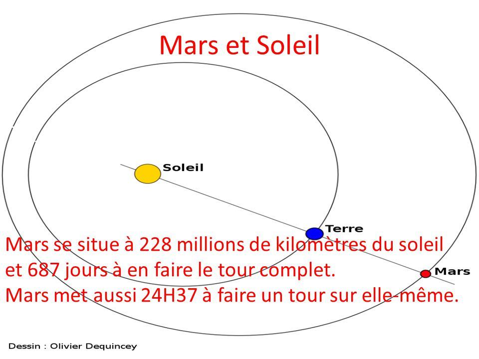 Mars et Soleil Mars se situe à 228 millions de kilomètres du soleil