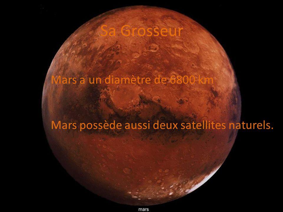 Sa Grosseur Mars a un diamètre de 6800 km