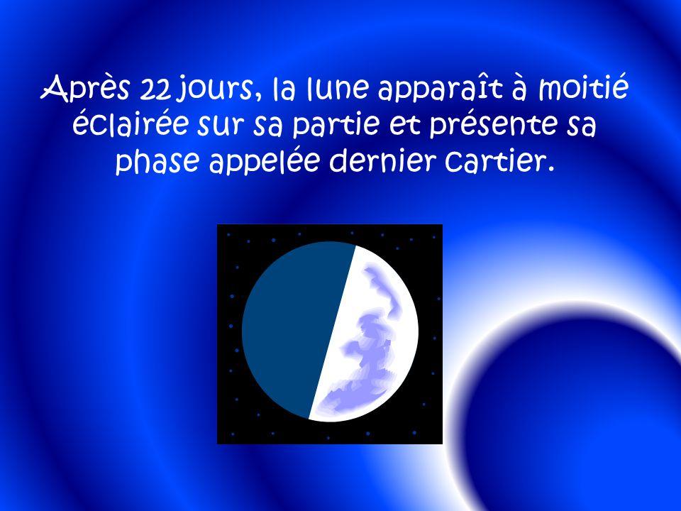 Après 22 jours, la lune apparaît à moitié éclairée sur sa partie et présente sa phase appelée dernier cartier.