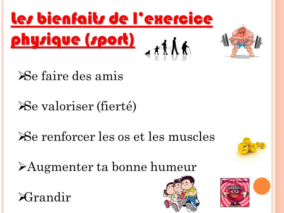 Les bienfaits de l'exercice physique (sport)