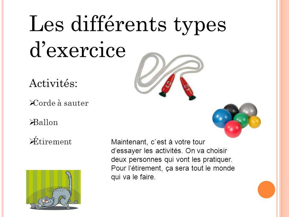 Les différents types d'exercice