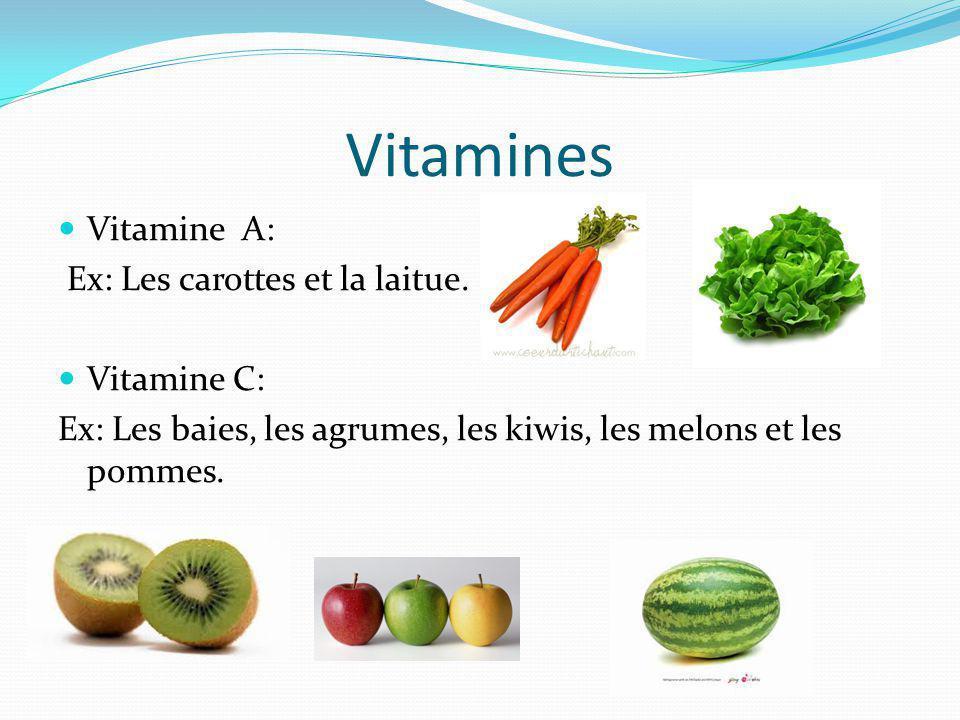 Vitamines Vitamine A: Ex: Les carottes et la laitue. Vitamine C: