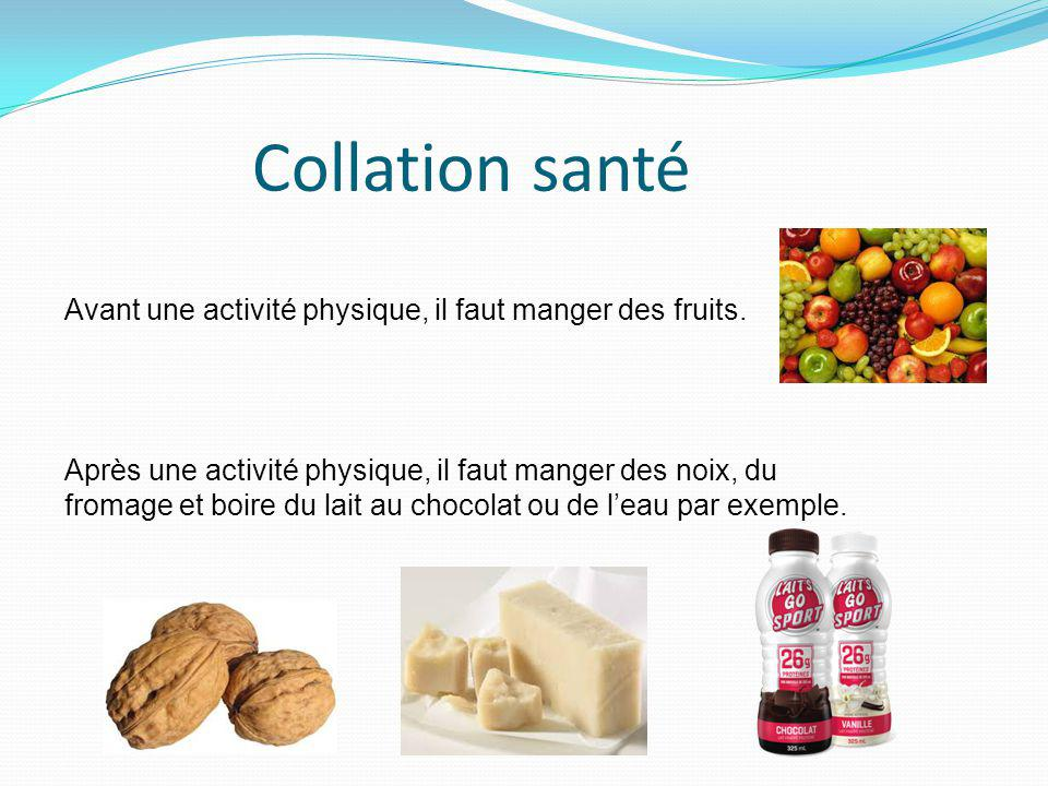 Collation santé Avant une activité physique, il faut manger des fruits.