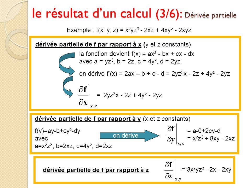 le résultat d'un calcul (3/6): Dérivée partielle