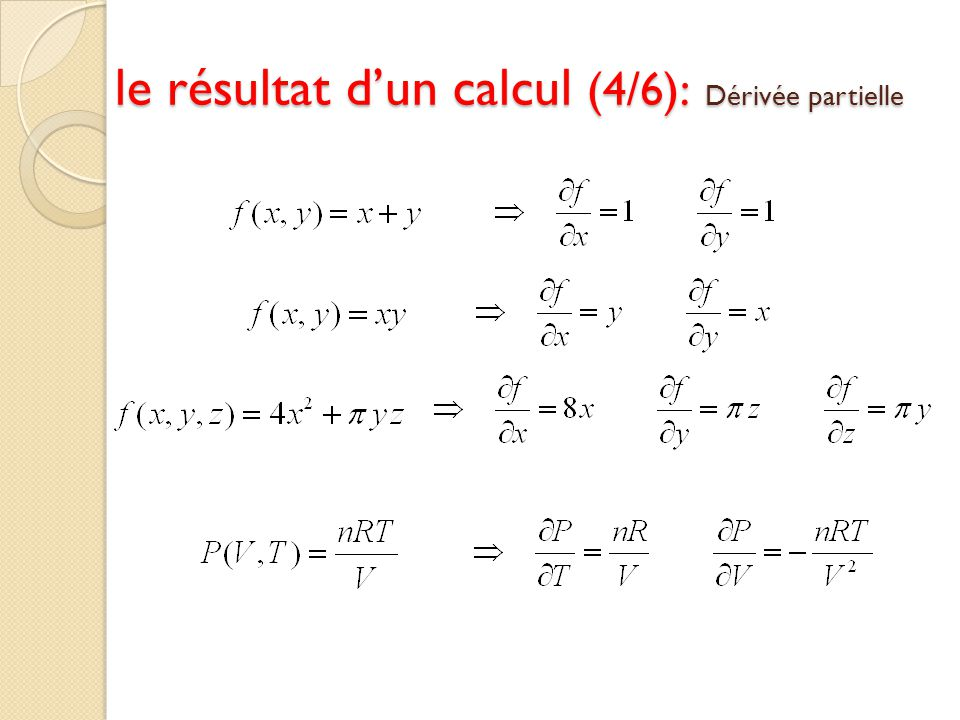 le résultat d'un calcul (4/6): Dérivée partielle