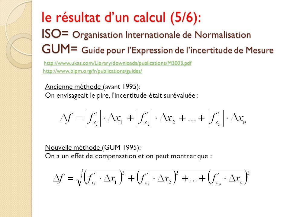 le résultat d'un calcul (5/6): ISO= Organisation Internationale de Normalisation GUM= Guide pour l'Expression de l'incertitude de Mesure http://www.ukas.com/Library/downloads/publications/M3003.pdf http://www.bipm.org/fr/publications/guides/