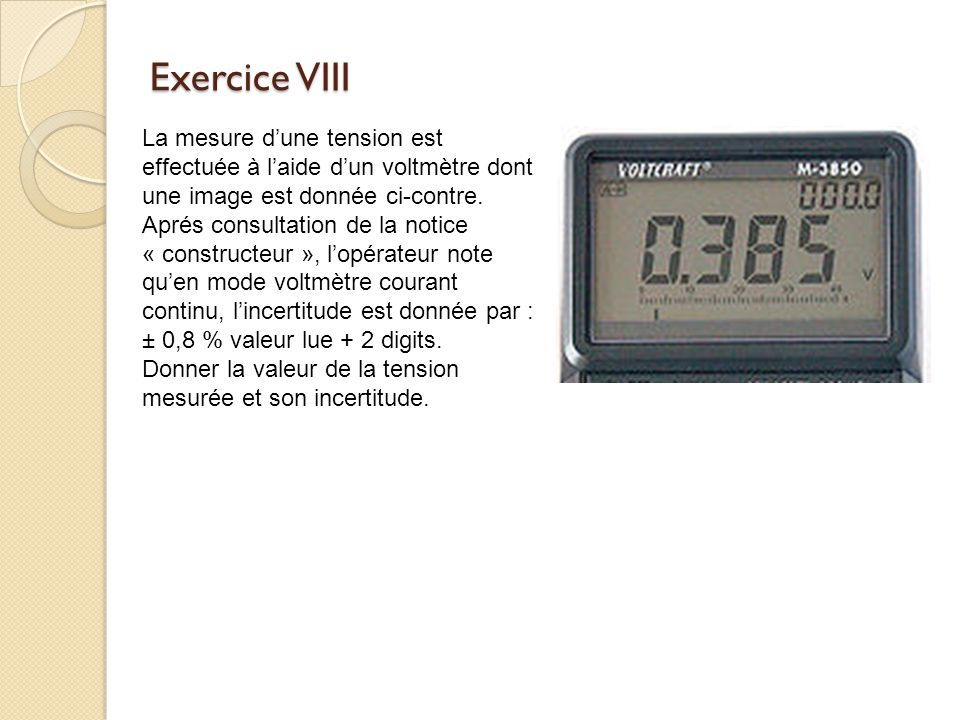 Exercice VIII