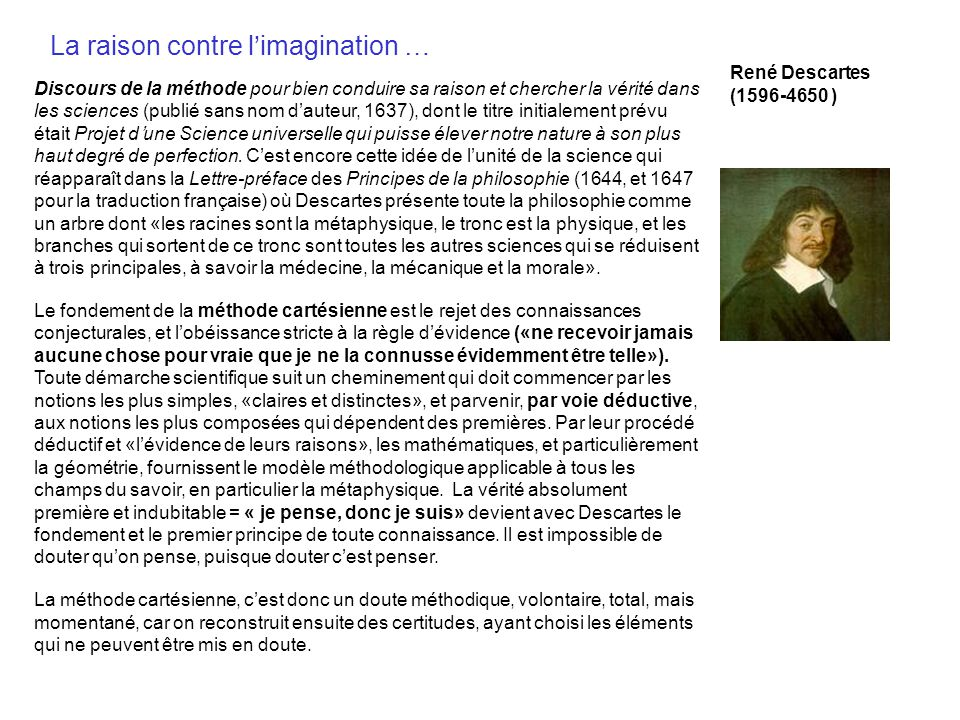La raison contre l'imagination …
