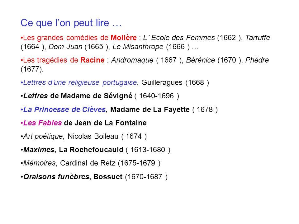 Ce que l'on peut lire … Les grandes comédies de Molière : L' Ecole des Femmes (1662 ), Tartuffe (1664 ), Dom Juan (1665 ), Le Misanthrope (1666 ) …