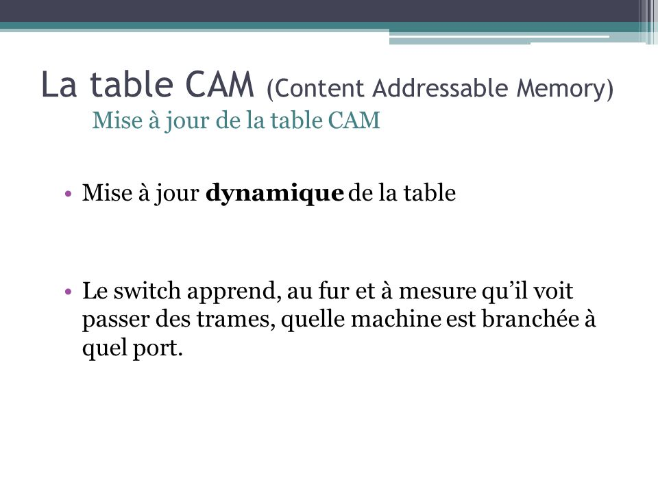 La table CAM (Content Addressable Memory)