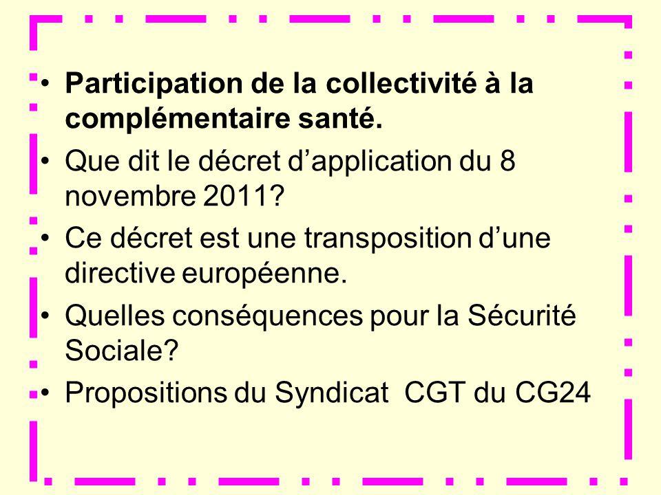 Participation de la collectivité à la complémentaire santé.