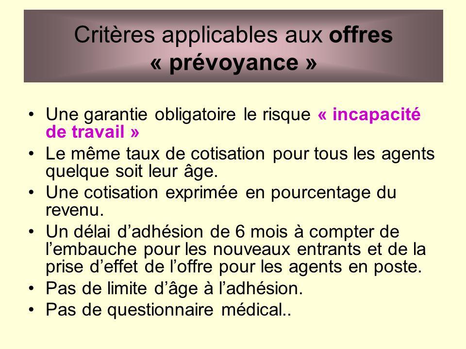 Critères applicables aux offres « prévoyance »