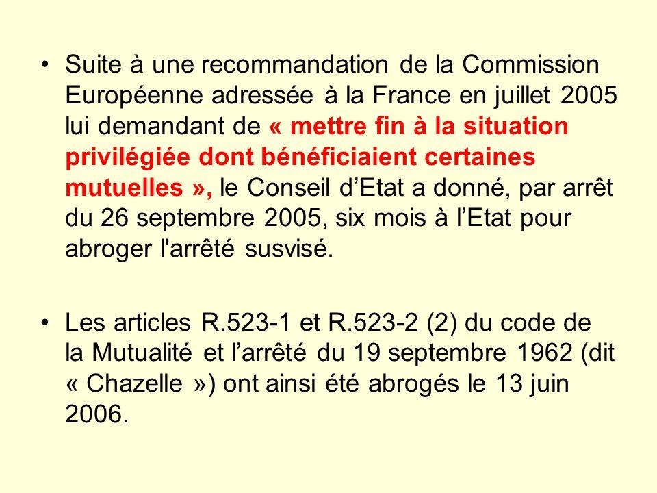 Suite à une recommandation de la Commission Européenne adressée à la France en juillet 2005 lui demandant de « mettre fin à la situation privilégiée dont bénéficiaient certaines mutuelles », le Conseil d'Etat a donné, par arrêt du 26 septembre 2005, six mois à l'Etat pour abroger l arrêté susvisé.