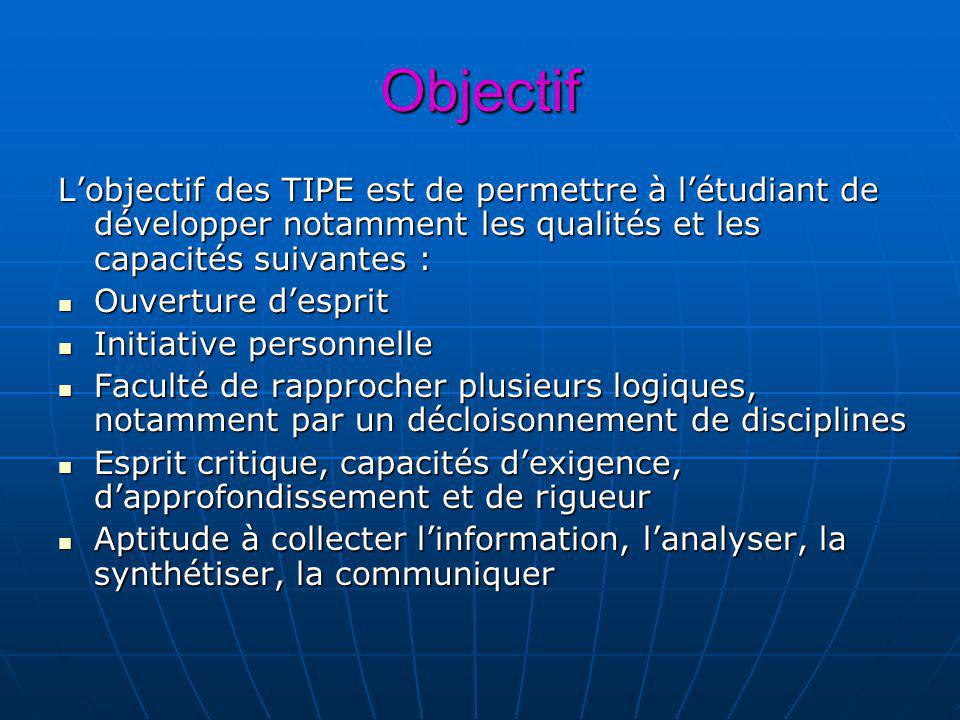 Objectif L'objectif des TIPE est de permettre à l'étudiant de développer notamment les qualités et les capacités suivantes :