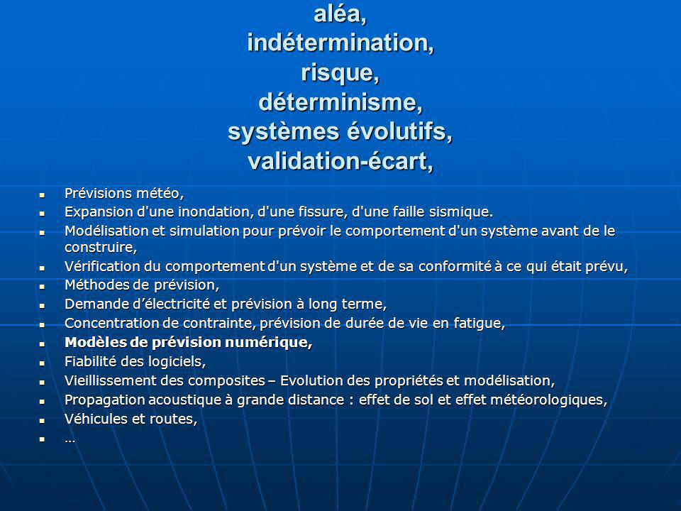 Quelques idées aléa, indétermination, risque, déterminisme, systèmes évolutifs, validation-écart,