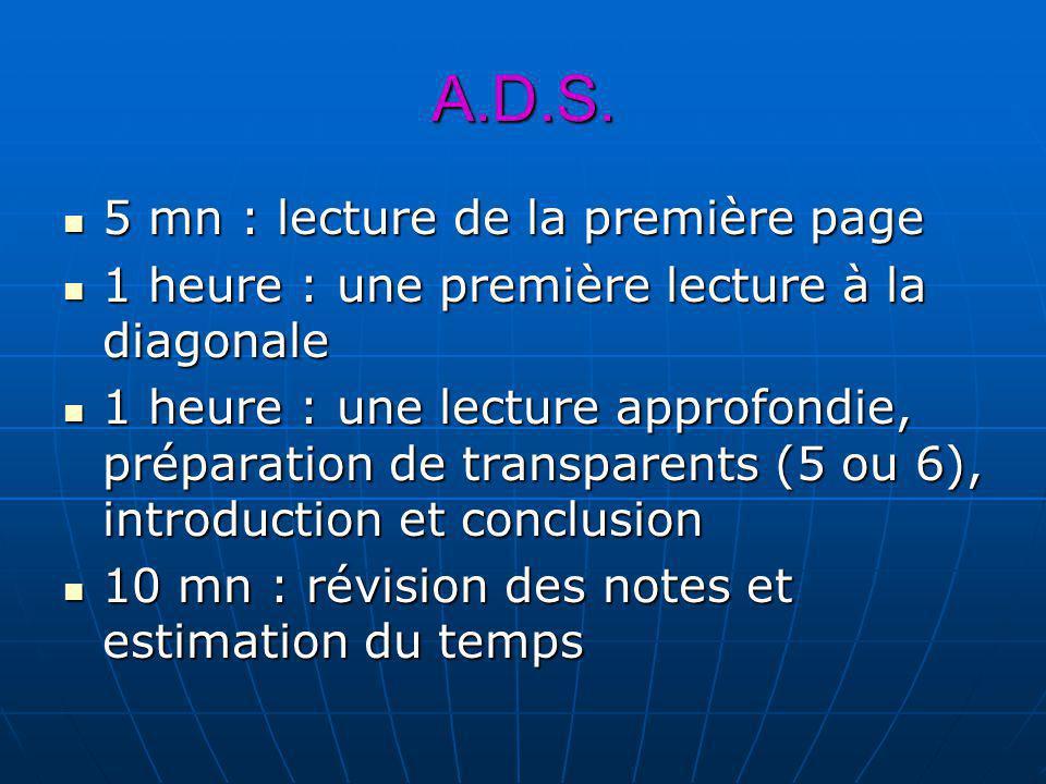 A.D.S. 5 mn : lecture de la première page