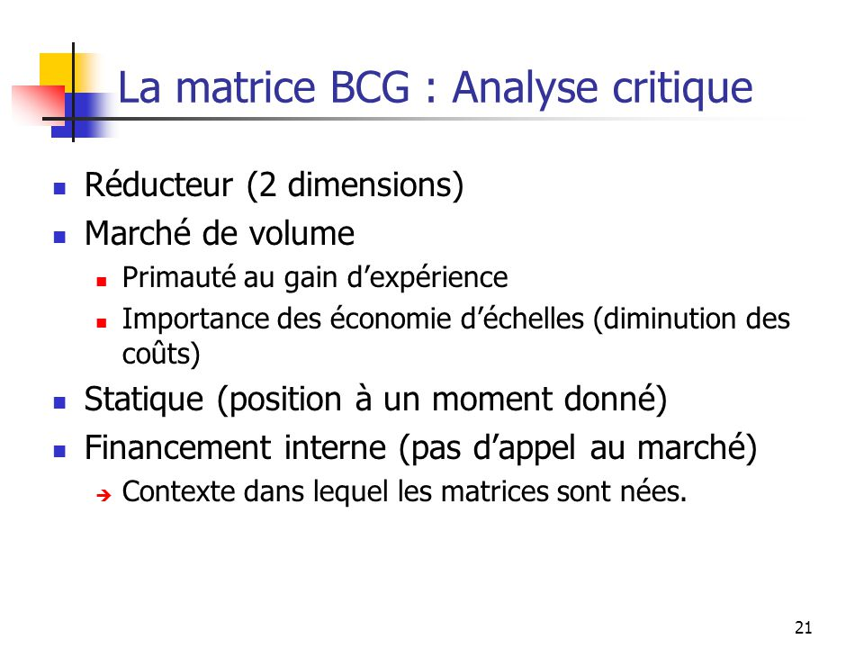 La matrice BCG : Analyse critique