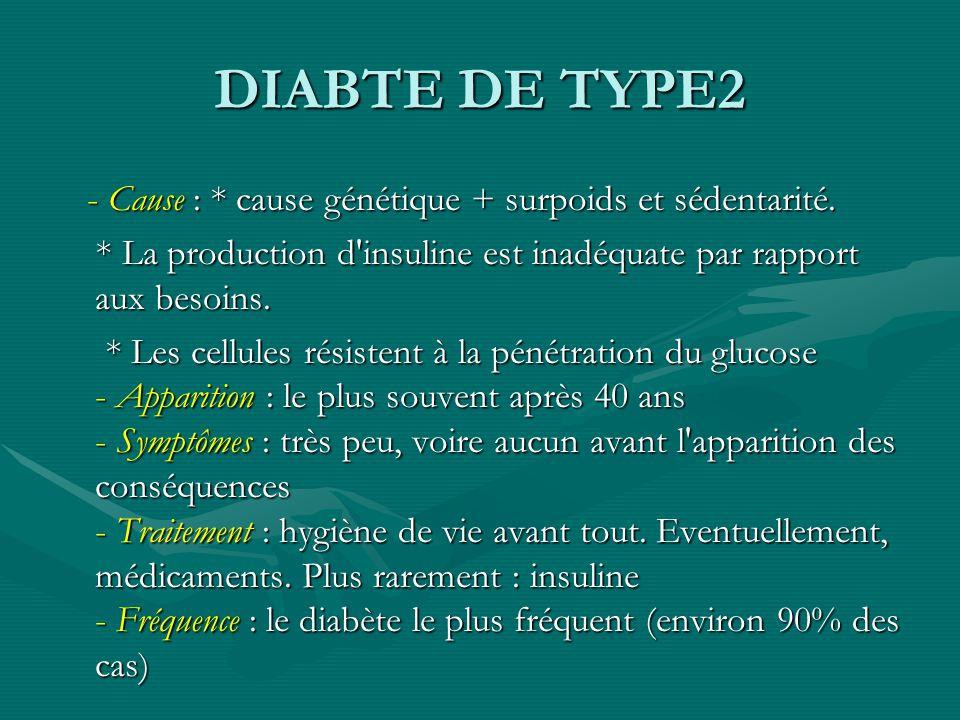 DIABTE DE TYPE2 - Cause : * cause génétique + surpoids et sédentarité.