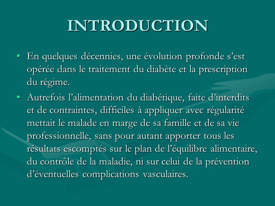INTRODUCTION En quelques décennies, une évolution profonde s'est opérée dans le traitement du diabète et la prescription du régime.