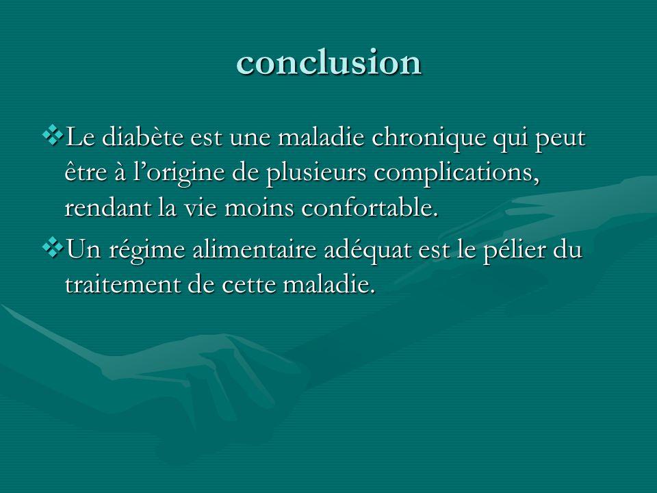 conclusion Le diabète est une maladie chronique qui peut être à l'origine de plusieurs complications, rendant la vie moins confortable.