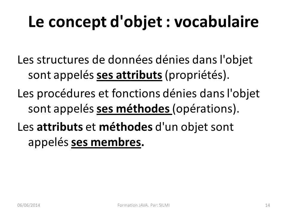 Le concept d objet : vocabulaire