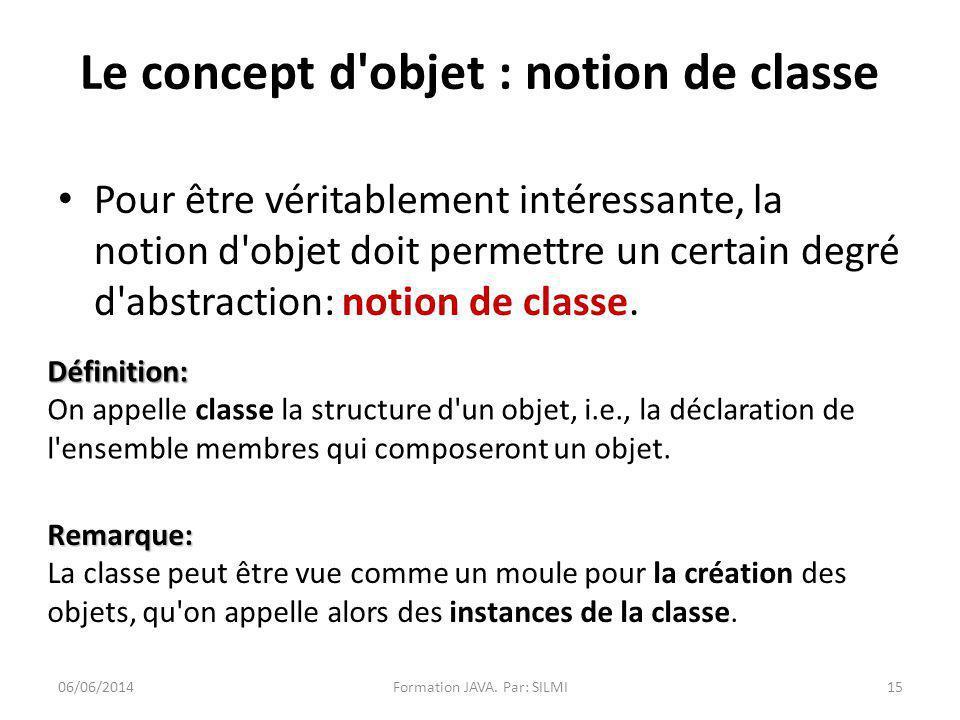 Le concept d objet : notion de classe