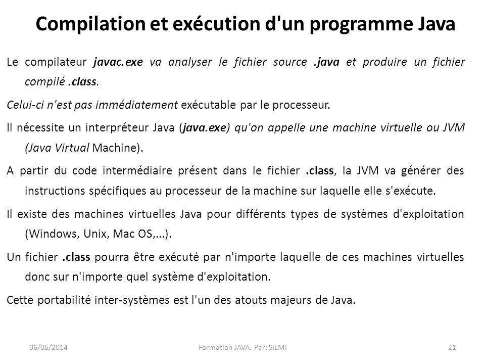 Compilation et exécution d un programme Java