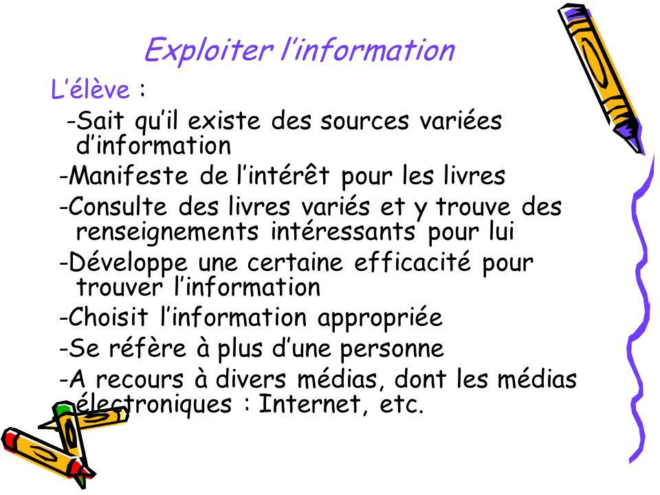 Exploiter l'information
