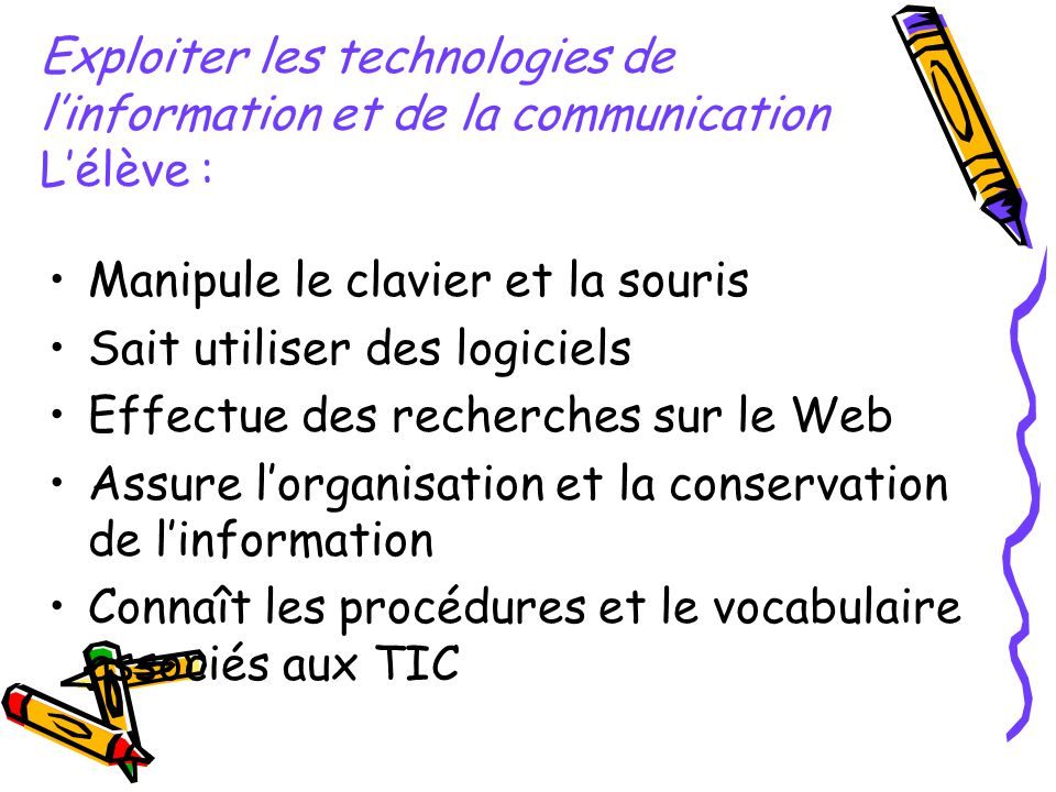 Exploiter les technologies de l'information et de la communication L'élève :