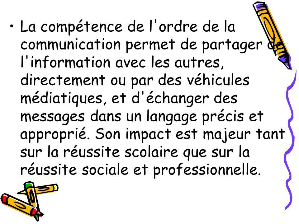 La compétence de l ordre de la communication permet de partager de l information avec les autres, directement ou par des véhicules médiatiques, et d échanger des messages dans un langage précis et approprié.