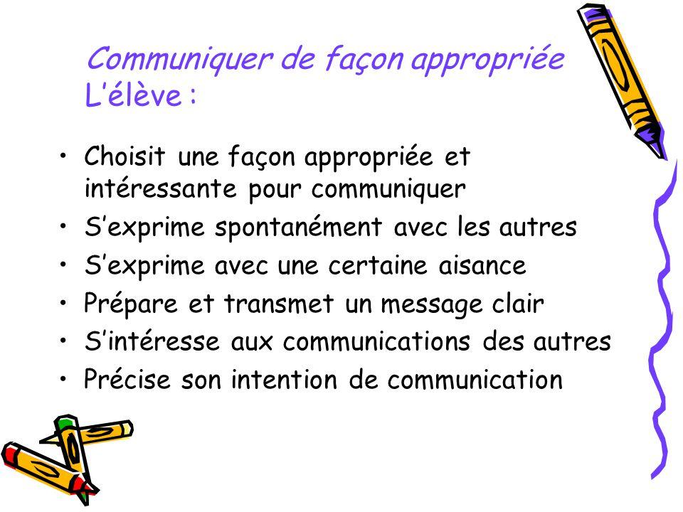 Communiquer de façon appropriée L'élève :
