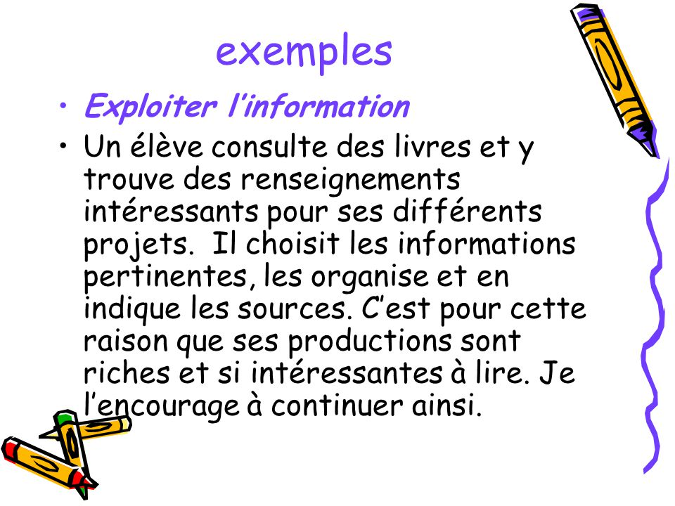 exemples Exploiter l'information