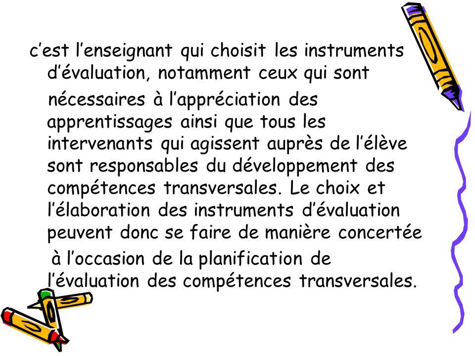 c'est l'enseignant qui choisit les instruments d'évaluation, notamment ceux qui sont