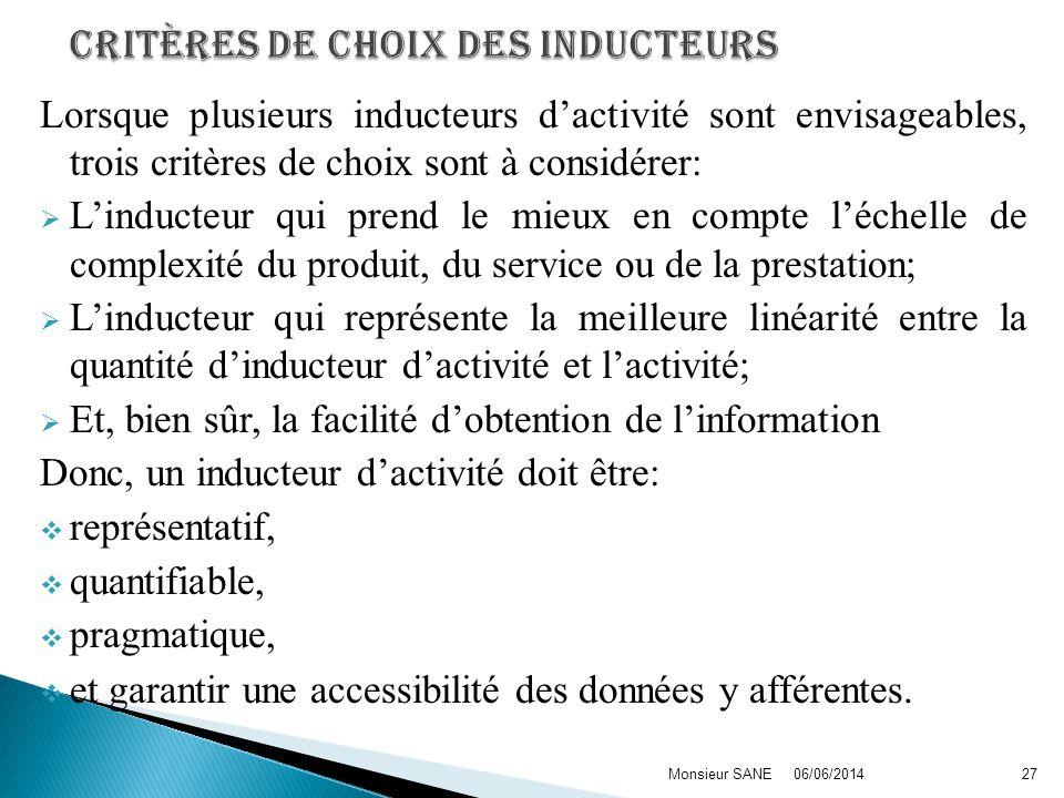 Critères de choix des inducteurs