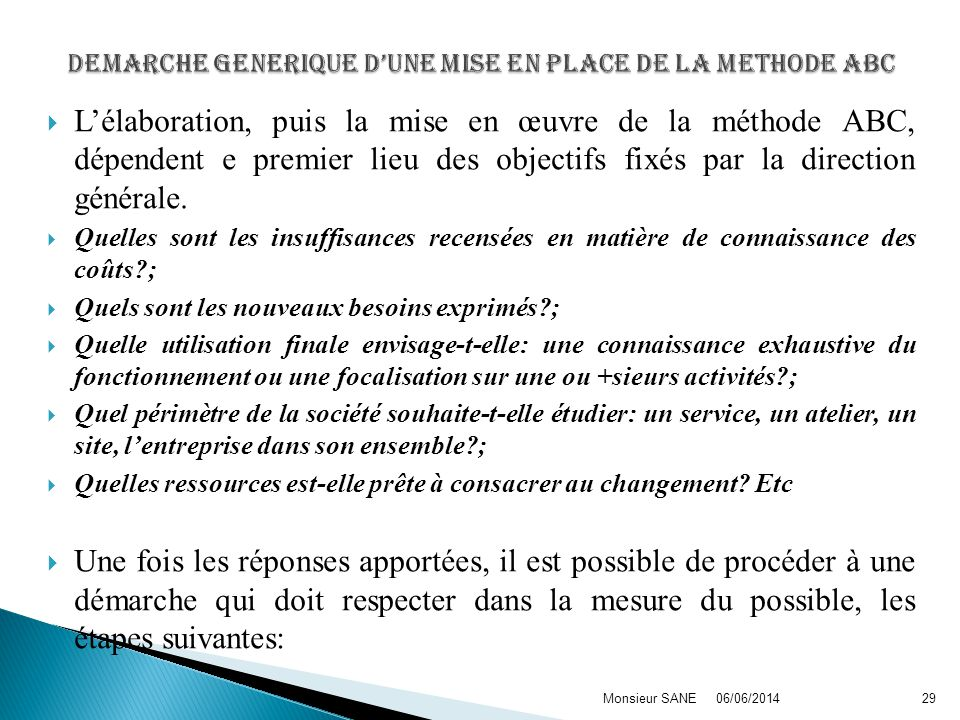 DEMARCHE GENERIQUE D'UNE MISE EN PLACE DE LA METHODE ABC
