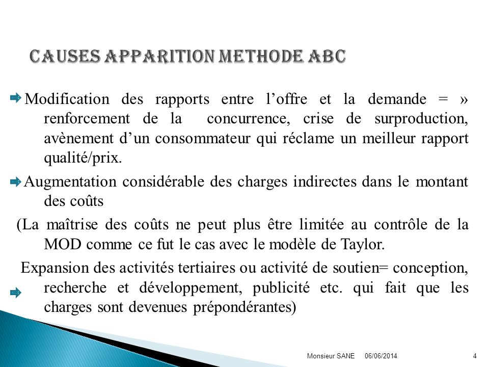 Causes apparition methode ABC