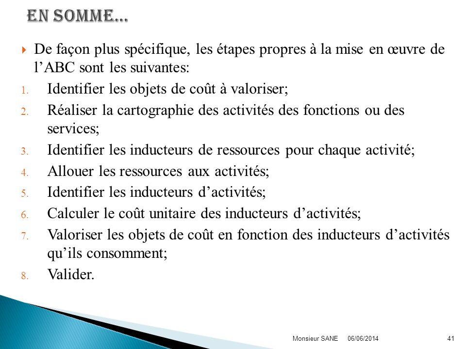 EN SOMME… De façon plus spécifique, les étapes propres à la mise en œuvre de l'ABC sont les suivantes: