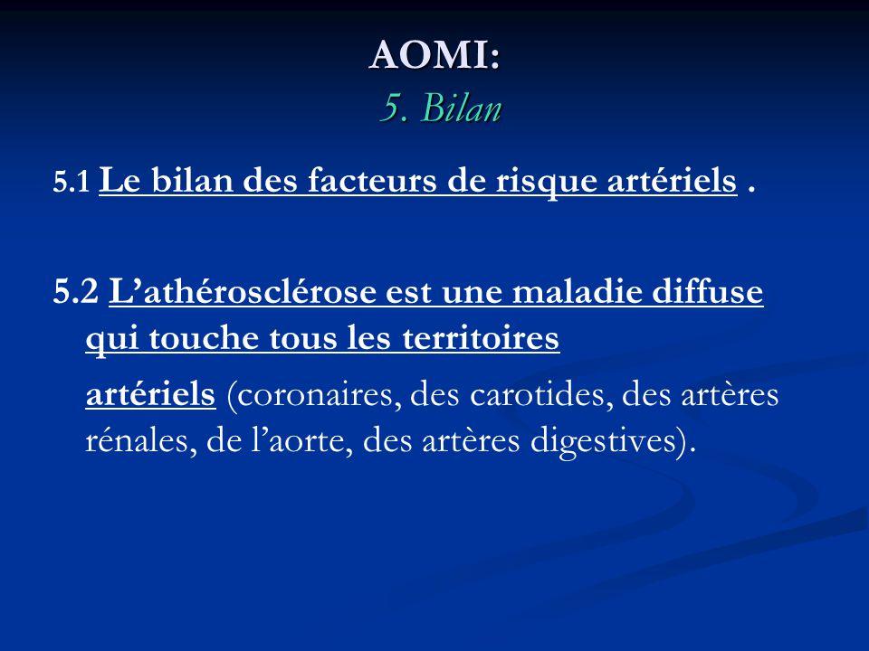 AOMI: 5. Bilan 5.1 Le bilan des facteurs de risque artériels . 5.2 L'athérosclérose est une maladie diffuse qui touche tous les territoires.