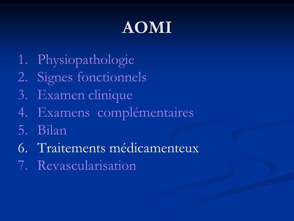 AOMI 1. Physiopathologie 2. Signes fonctionnels 3. Examen clinique
