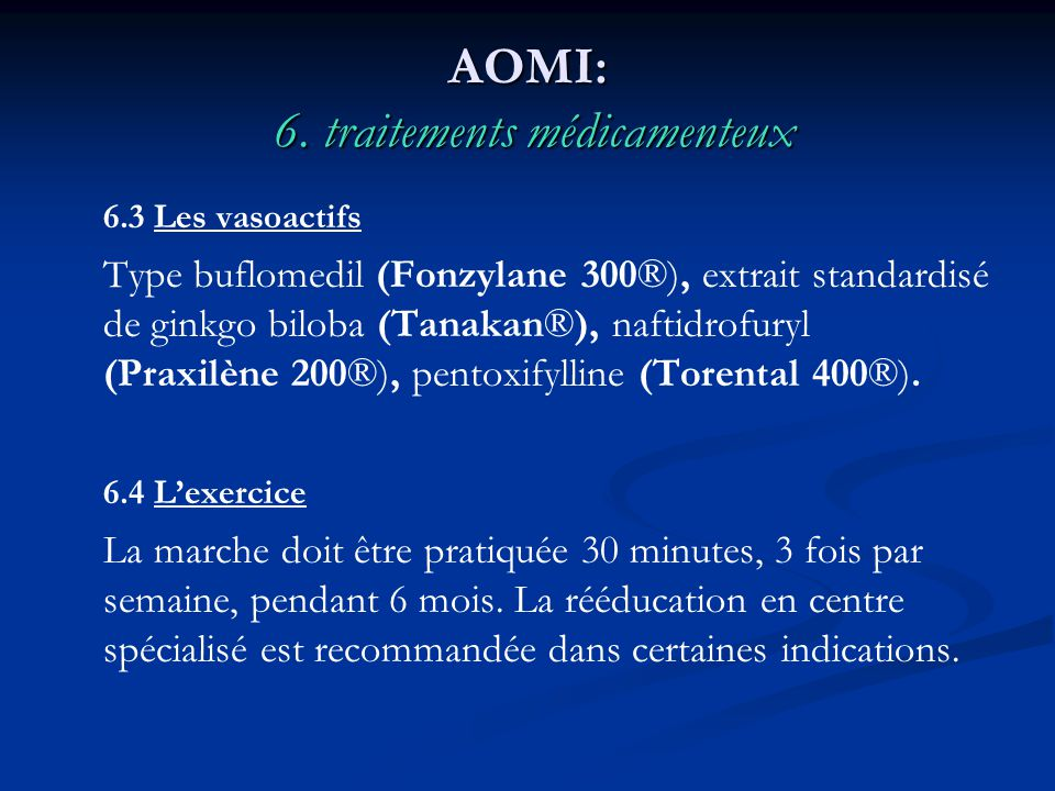 AOMI: 6. traitements médicamenteux