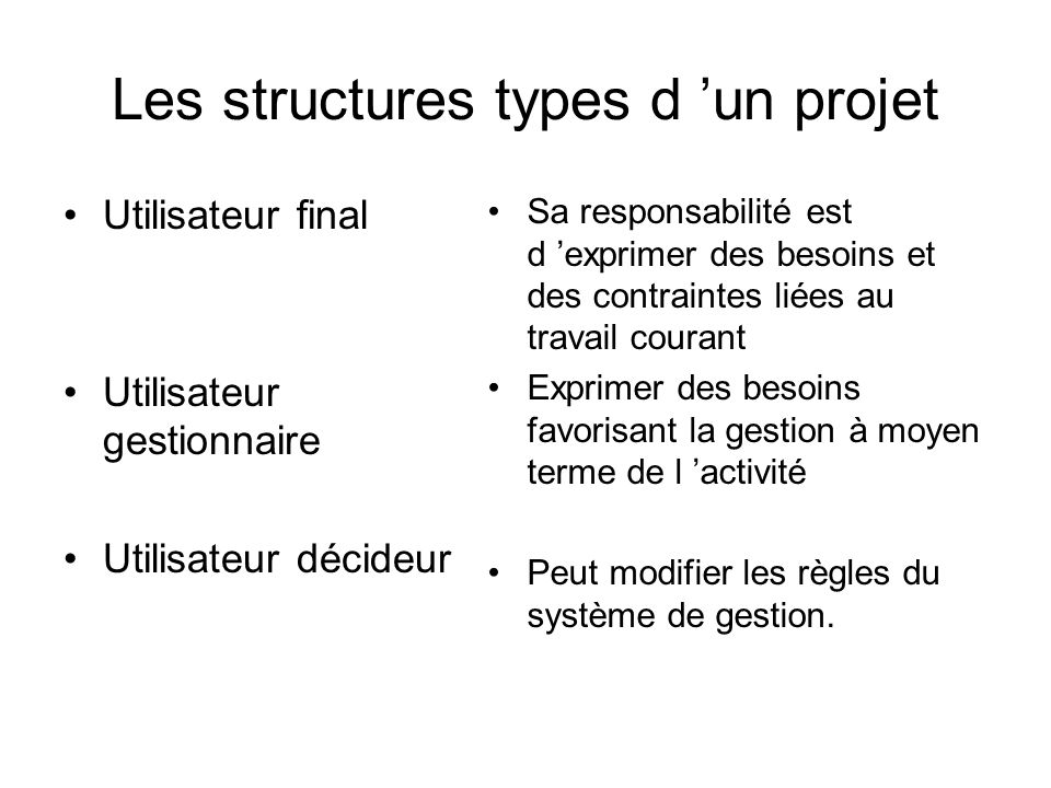 Les structures types d 'un projet