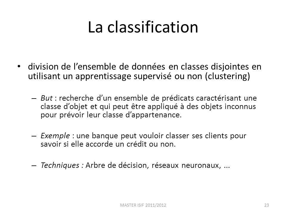 La classification division de l'ensemble de données en classes disjointes en utilisant un apprentissage supervisé ou non (clustering)